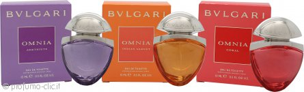Bvlgari Miniatures Confezione Regalo The Jewel Charms Collection 15ml Omnia Indian Garnet EDT + 15ml Omnia Coral EDT + 15ml Omnia Amethyste EDT