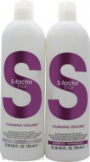 Tigi Duo Pack S-Factor Stunning Volume Confezione Regalo 750ml Shampoo + 750ml Balsamo