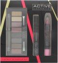 Active Cosmetics Instant Glamour Kit Confezione Regalo 6.5ml Mascara + 8 x 1.5g Ombretti + 3.3g Matita Labbra + Applicatore