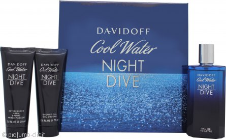 Davidoff Cool Water Night Dive Confezione Regalo 125ml EDT + 75ml Gel Doccia  + 75ml Balsamo Dopobarba