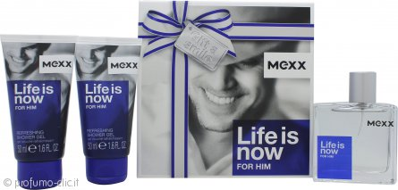 Mexx Life Is Now for Him Confezione Regalo 50ml EDT + 2 x 50ml Gel Doccia