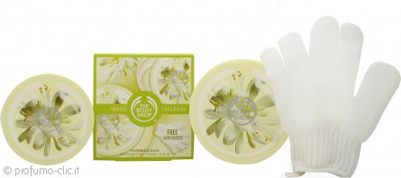 The Body Shop Moringa Duo Travel Exclusive Confezione Regalo 200ml Burro Corpo + 200ml Body Scrub + Guanti da Bagno