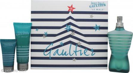 Jean Paul Gaultier Le Male Confezione Regalo 125ml EDT Spray + 75ml Gel Doccia + 30ml Balsamo Dopobarba