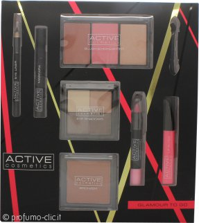 Active Cosmetics Glamour To Go Confezione Regalo Matita Eye Liner + 6.5ml Mascara + 4 x 2.5g Ombretti + 10g Bronzer + 2 x 6g Blusher + 6g Highlighter + 10.5ml Lucidalabbra + 3.3g Matita Labbra + Applicatore