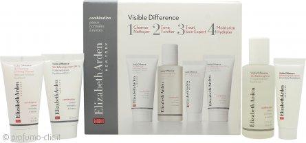 Elizabeth Arden Visible Difference Starter Kit Confezione Regalo 30ml Detergente Esfoliante + 50ml Tonico + 15ml Skin Siero + 30ml Lozione Equilibrante - Pelle Mista