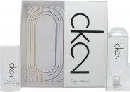 Calvin Klein CK2 Confezione Regalo 50ml EDT + 100ml Lozione Corpo + 100ml Bagnoschiuma Per Corpo E Capelli