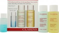Clarins Cleansing Essentials Viso ed Occhi Confezione Regalo - Pelle Normale/Secca 30ml Struccante + 100ml Latte Detergente Anti Pollution + 100ml Lozione Tonica