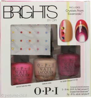 OPI Nail Polish Brights Confezione Regalo 15ml Hotter Than You Pink + 15ml Samoan Sand + 15ml The Berry Thought of You + Cristalli Swarovski + 2g Colla per Unghie