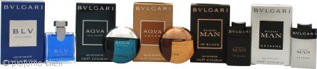 Bvlgari Men Miniature Collection Confezione Regalo 5 x 5ml BLV Pour Homme EDT + 5ml Aqva Pour Homme EDT + 5ml Aqva Amara EDT + 5ml Man In Black EDP + 5ml Man Extreme EDT
