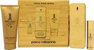 Paco Rabanne 1 Million Edizione Speciale da Viaggio Confezione Regalo 100ml EDT + 10ml EDT Spray da Viaggio + 100ml Gel Doccia