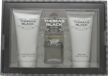 Laurelle Thomas Black Confezione Regalo 100ml EDT Spray + 175ml Bagnoschiuma + 175ml Balsamo Dopobarba