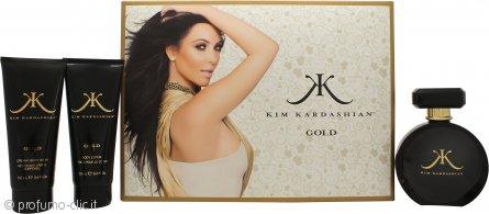 Kim Kardashian Kim Kardashian Gold Confezione Regalo 100ml EDP + 100ml Lozione Corpo + 100ml Bagnoschiuma