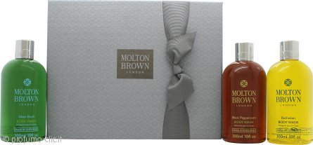 Molton Brown Men Signature Washes Confezione Regalo 3 x 300ml Bagnoschiuma (Black Peppercorn + Bushukan + Silver Birch)