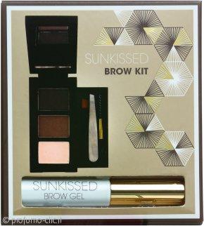 SUNkissed Brow Kit Confezione Regalo 2 x Polvere Compatta per Sopracciglia + Highlighter + Gel per Sopracciglia + Pinzetta