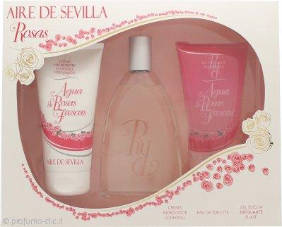 Instituto Español Aire de Sevilla Agua de Rosas Frescas Confezione Regalo 150ml EDT Spray + 150ml Gel Doccia + 150ml Crema Corpo