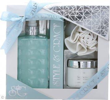 Style & Grace Puro Bathroom Retreat Confezione Regalo 500ml Crema da Bagno + 170ml Burro per il Corpo + Spugna a Fiore