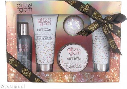 Style & Grace Glitz & Glam Pamper Me Gorgeous Confezione Regalo 60ml Burro per il Corpo + 120ml Gel Schiumoso da Bagno + 110ml Bagnoschiuma + 110ml Body Polish + 50g Sapone da Bagno