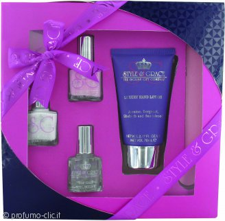 Style & Grace Mani Care Essentials Confezione Regalo 70ml Lozione Mani + 8ml Top Coat + 2 x 8ml Smalto + Lima