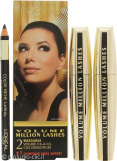 L'Oreal Volume Million Lashes Confezione Regalo 2 x 9ml Mascara Nero + Contour Khol Eyeliner Nero