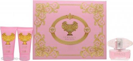 Versace Bright Crystal Confezione Regalo 50ml EDT + 50ml Gel Doccia + 50ml Lozione Corpo
