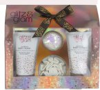 Style & Grace Glitz & Glam A Gift Of Glow Confezione Regalo 110ml Glorious Bagnoschiuma + 110ml Luxurious Bagnoschiuma + Sali da Bagno + Spugna a Fiore