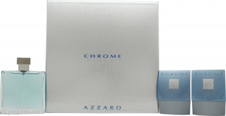 Azzaro Chrome Confezione Regalo 100ml EDT + 75ml Balsamo Dopobarba + 75ml All Over Shampoo