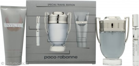 Paco Rabanne Invictus Confezione Regalo 100ml EDT Spray + 100ml Gel Doccia + 10ml EDT Mini