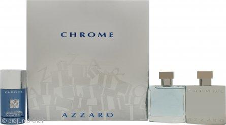 Azzaro Chrome Confezione Regalo 50ml EDT + 50ml Lozione Dopobarba + 75ml Deodorante Stick