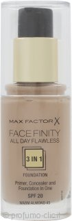 Max Factor Facefinity All Day Flawless 3 in 1 Fondotinta SPF20 30ml - 45 Warm Almond