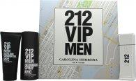 Carolina Herrera 212 VIP Men Confezione Regalo 100ml EDT + 100ml Bagnoschiuma & Gel Doccia + 150ml Deodorante Spray