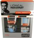 L'Oreal Men Expert Hydra Energetic Barber Shop Confezione Regalo 150ml Detergente Viso + 50ml Gel Idratante