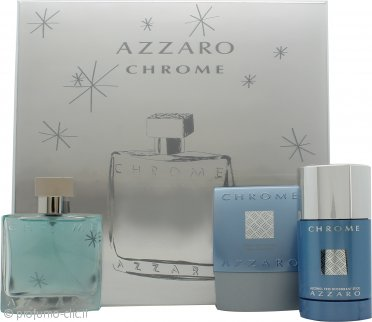 Azzaro Chrome Confezione Regalo 50ml EDT + 75ml Balsamo Dopobarba + 75ml Deodorante Stick