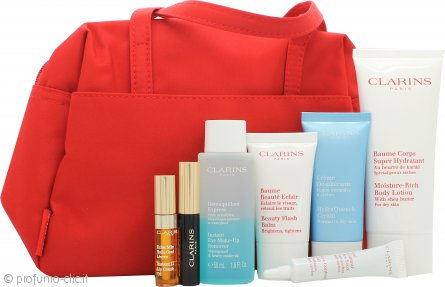 Clarins 7 Meraviglie di Bellezza Confezione Regalo 100ml Lozione Corpo + 15ml Beauty Flash Balsamo + 30ml Crema Hydra Quench + 50ml Struccante Occhi + 10ml Gel Occhi + 3ml Wonder Perfect Mascara + 2.8ml Eye Comfort Gel Occhi + Borsa per Cosmetici