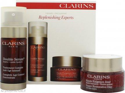 Clarins Replenishing Experts Confezione Regalo 50ml Super Restorative Crema Giorno + 30ml Double Serum Age Control