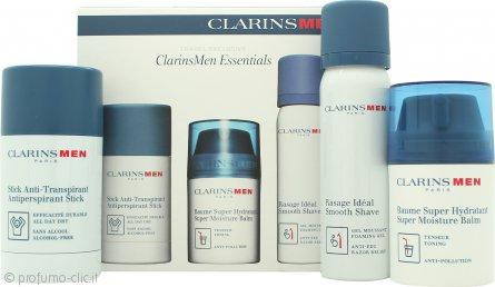 Clarins Mens Essentials Confezione Regalo 50ml Balsamo Idratante + 50ml Gel da Barba + 75g Deodorante Stick