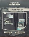 L'Oreal Paris Men Expert The Carbon Power Confezione Regalo 300ml 5in1 Gel Doccia + 150ml Anti-Traspirante Spray