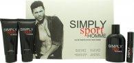 Simply Sport Homme Confezione Regalo 100ml EDT + 100ml Balsamo Dopobarba + 100ml Shampoo & Bagnoschiuma + 15ml EDT