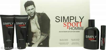 Simply Sport Homme Confezione Regalo 100ml EDT + 100ml Balsamo Dopobarba + 100ml Shampoo & Bagnoschiuma + 15ml EDT