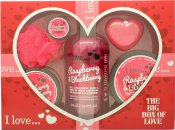 I Love... A Big Box Of Love Raspberry & Blackberry Confezione Regalo 500ml Bagnoschiuma + 100ml Sugar Scrub + 100ml Burro Corpo + 10ml Balsamo Labbra + 60g Sapone + Spugna
