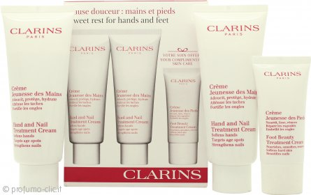 Clarins Jeunesse Des Mains Confezione Regalo 2 x 100ml Hand and Nail Treatment Crema + 30ml Crema Piedi