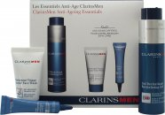 Clarins Men Confezione Regalo 50ml Gel Rivitalizzante + 30ml Detergente Viso Attivo + 10ml Siero Occhi Anti Stanchezza